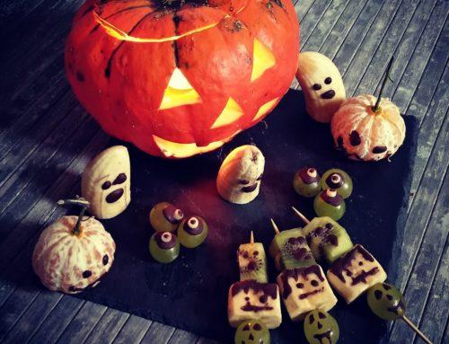 Comer saludable en fiestas, feliz halloween/samhain