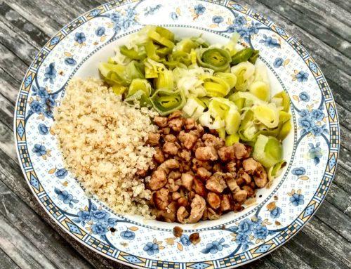 Puerros con soja texturizada y quinoa