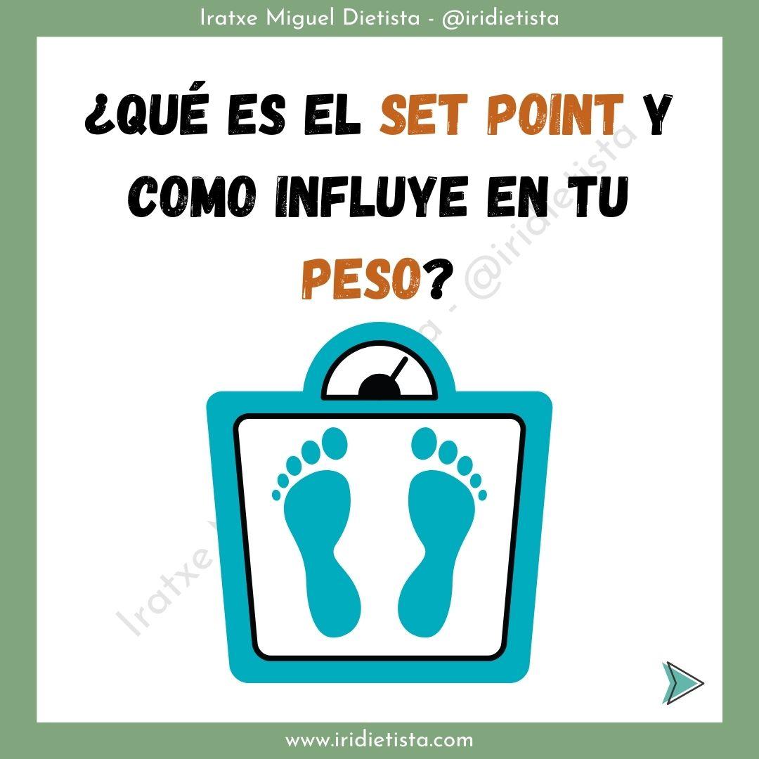 """texto """"¿Qué es el set point y como influye en tu peso?"""" acompañado de una ilustración de una báscula azul turquesa con unas huellas de pies."""
